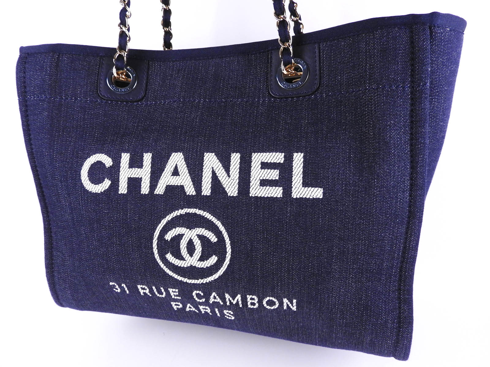 bfef654af995 Auth CHANEL Deauville MM Chain Medium Shoulder Tote Bag Denim Blue A67001  A-9552