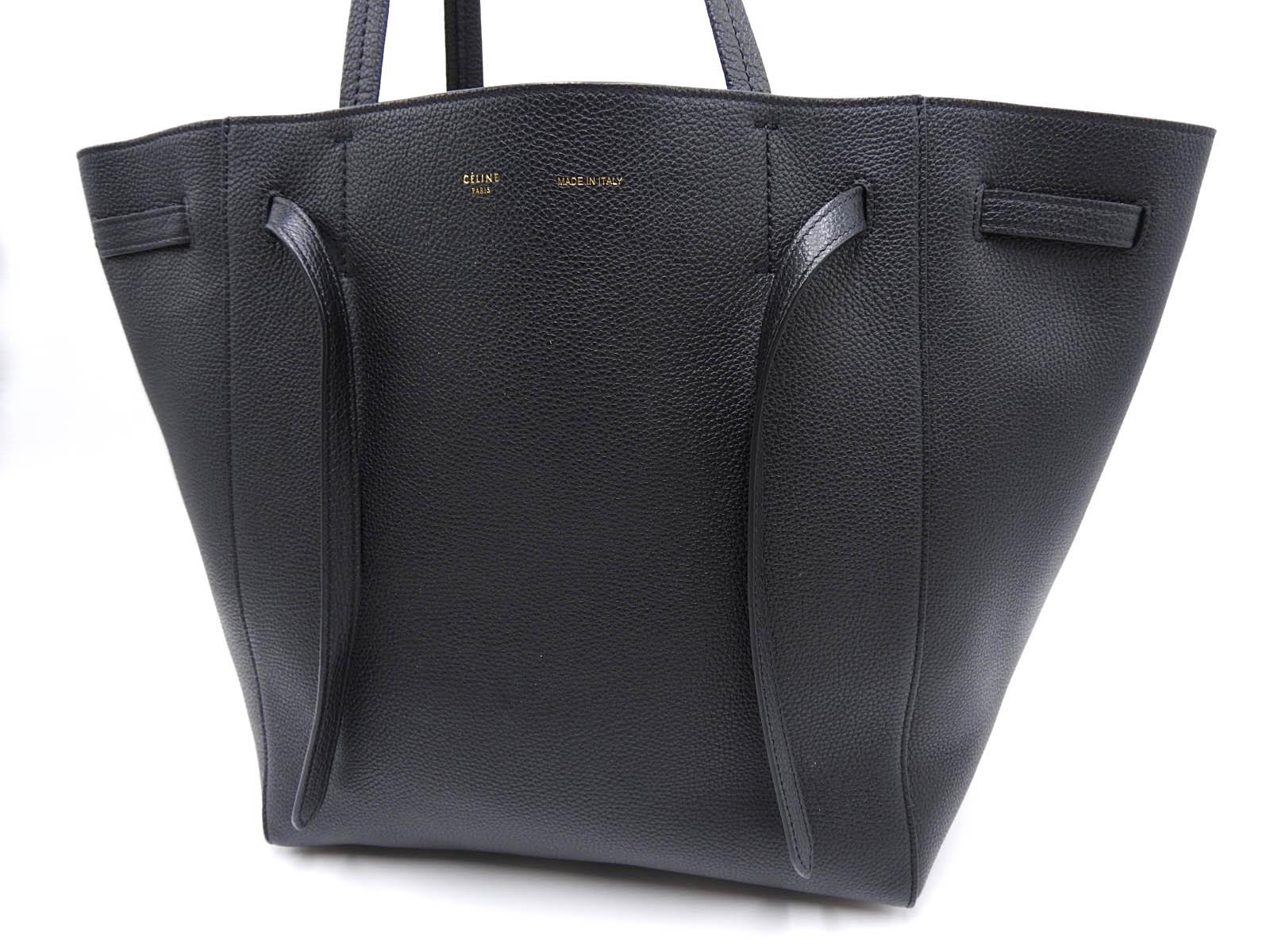 4017becb36ae7 Auth CELINE Cabas Phantom Shoulder Tote Bag Calf Leather Black 176023 TNI  38NO 2018 A-9614