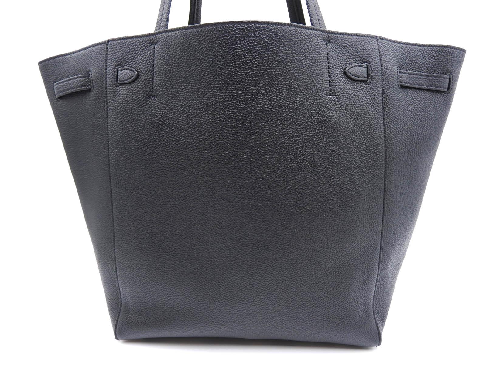 013e2c818d8a1 Auth CELINE Cabas Phantom Shoulder Tote Bag Calf Leather Black ...