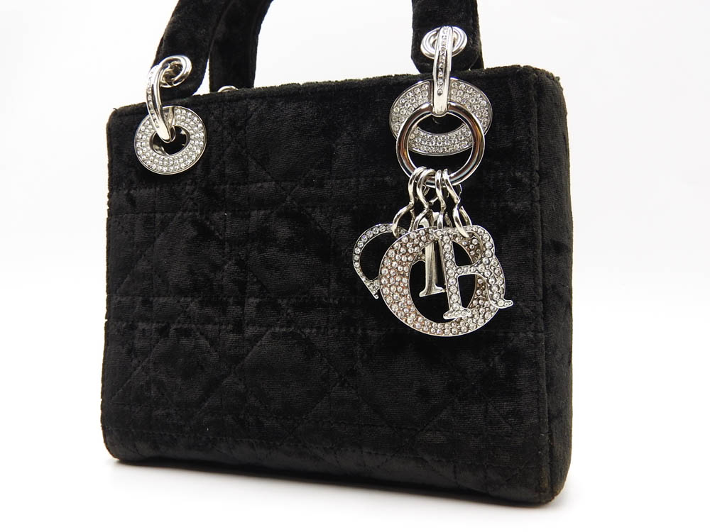best cheap 33a95 c7ebe Details about Auth CHRISTIAN DIOR Lady Dior Mini Cannage Hand Bag Velor  Rhinestone Black A9615