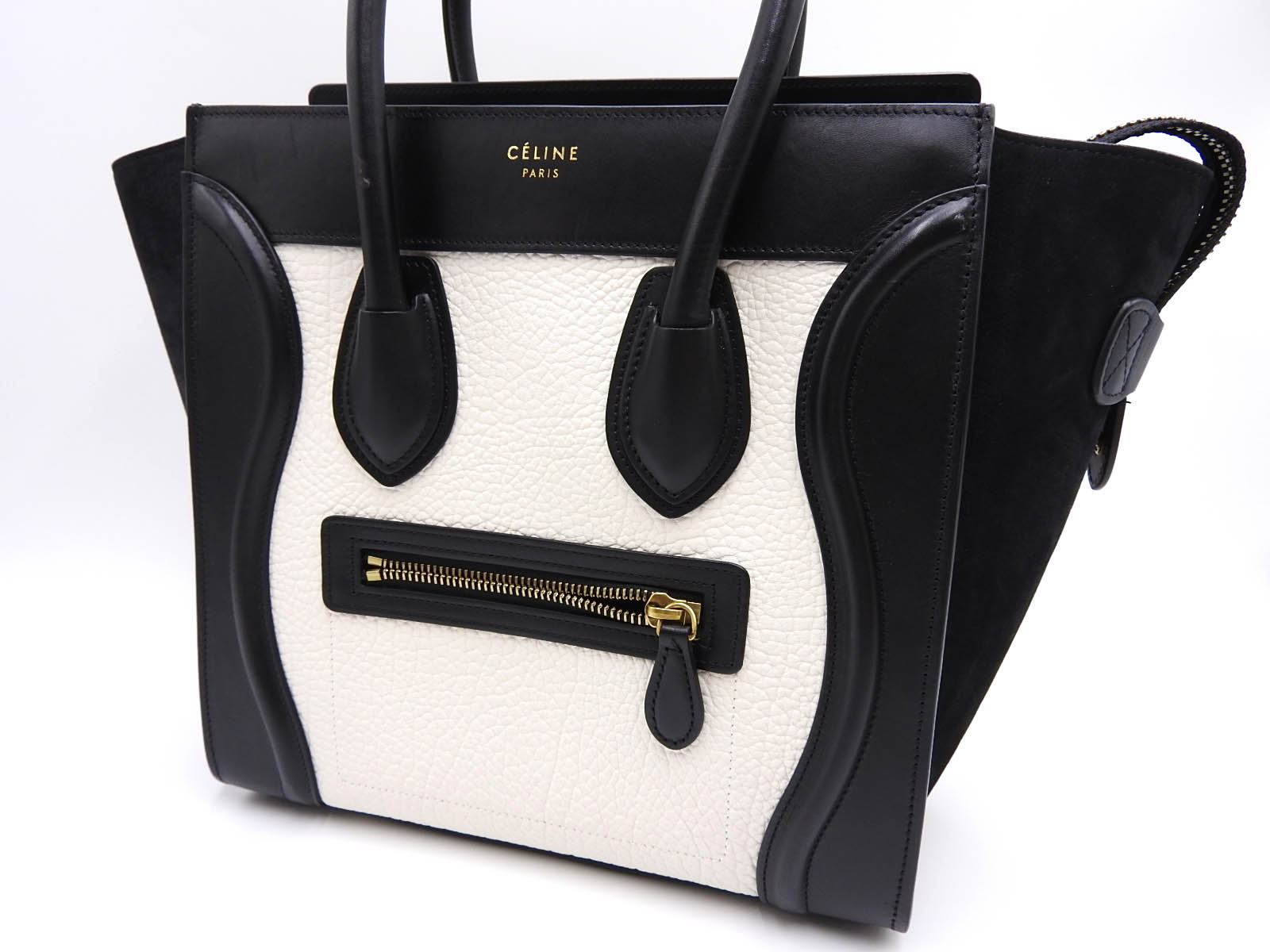 fb11bca428ab7 Auth CELINE Luggage Micro Shopper Tote Hand Bag Calf Suede Leather Black  White 167793 A-9634