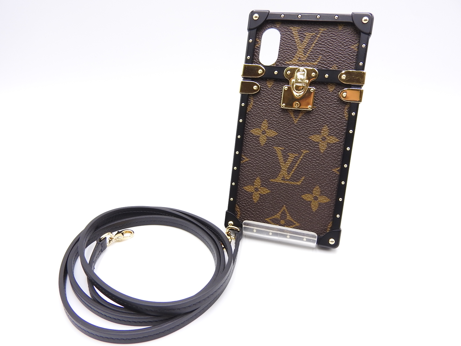 the latest ff231 8276f Details about LOUIS VUITTON Monogram Eye Trunk iPhone X & XS Case Brown  Black Gold M62618 9861